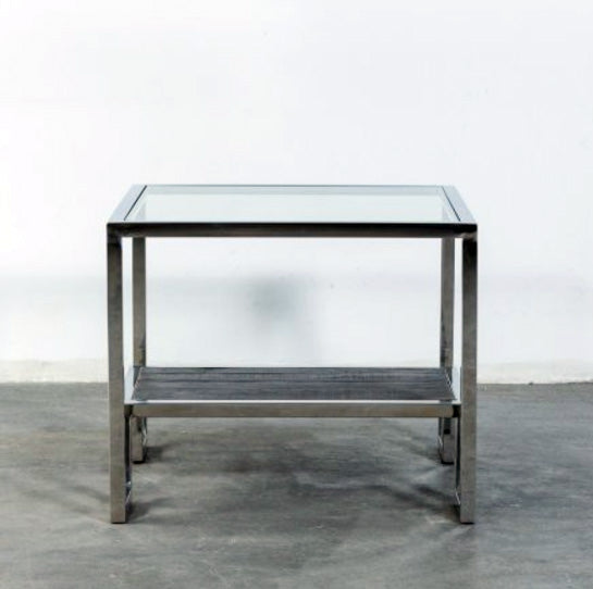 TETRIS SIDE TABLE WITH STAINLESS STEEL BASE