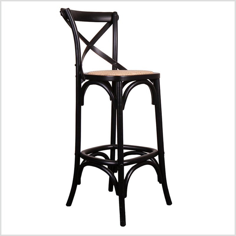 Cross Back Oak wood Black Bar stool