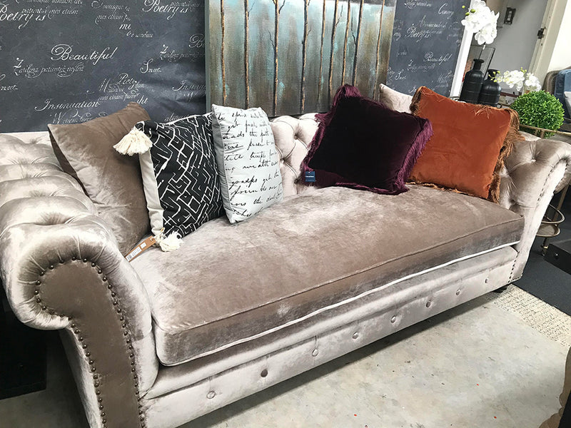 Chesterfield 3 Seater--Gold Velvet