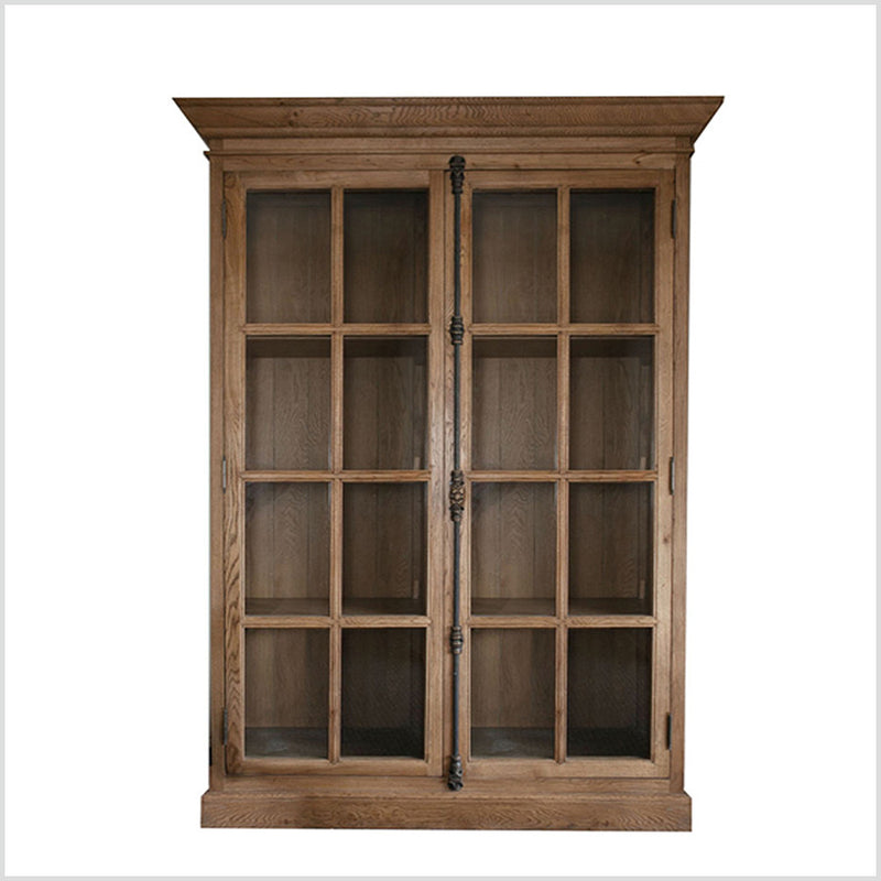 FRENCH CASEMENT DOUBLE-DOOR CABINET OAK