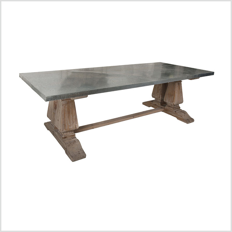 Zinc Top Reclaimed Wood Trestle Dining Table