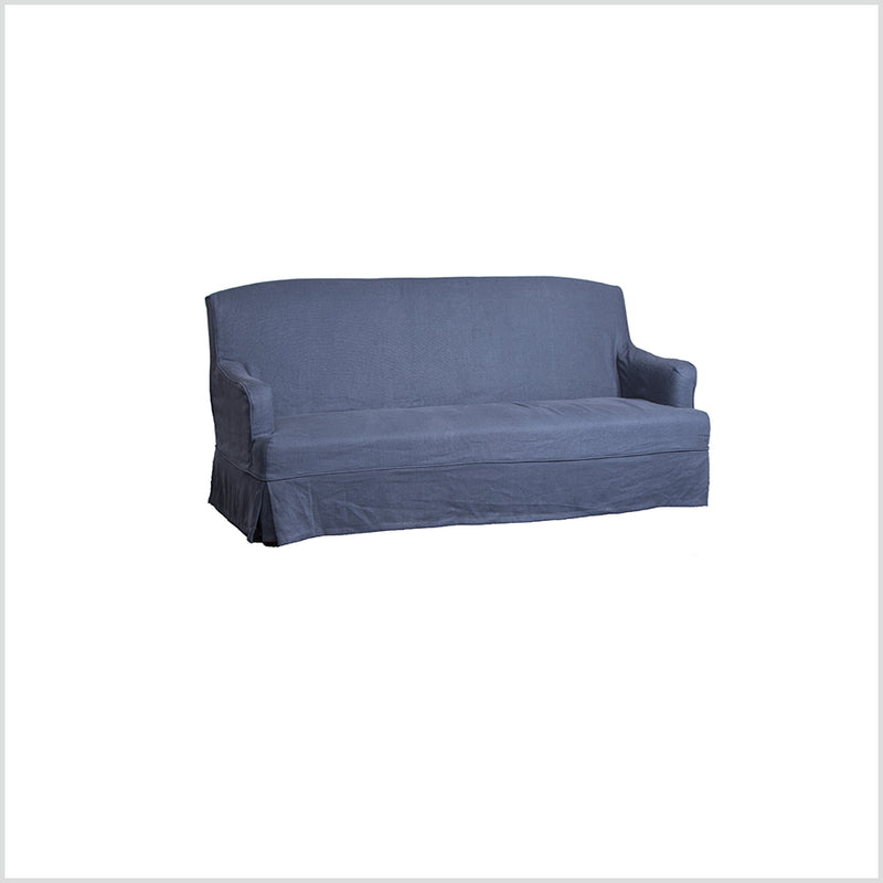 Cottage linen Slip cover 3 seater Sofa Extra Navy Linen Cover Free