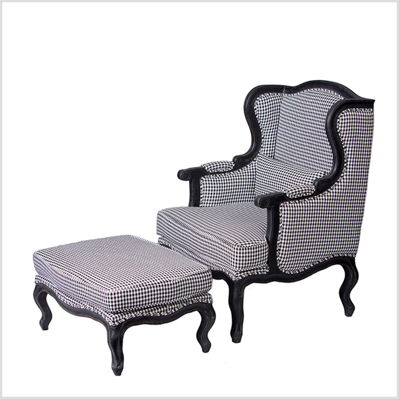 Wingback arm chair with ottoman