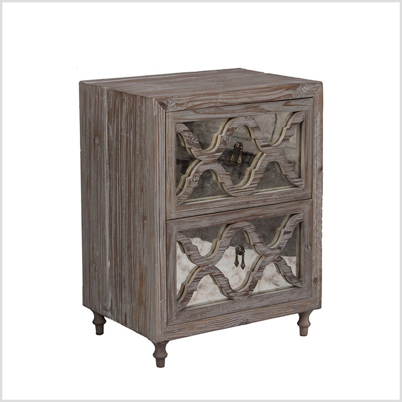 2 Drawer Bedside with Antique mirror face