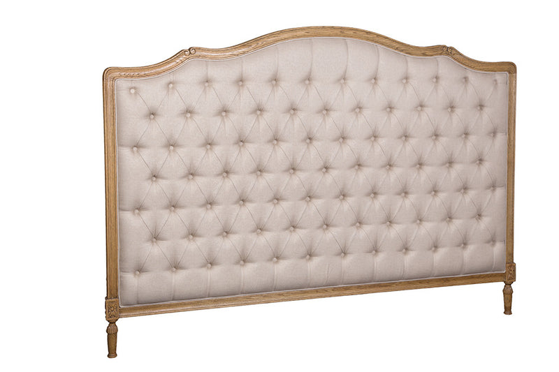 Linen Button Queensize Headboard in Oak Wood frame