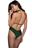 Green Ruffled Deep V One Piece Swimsuit
