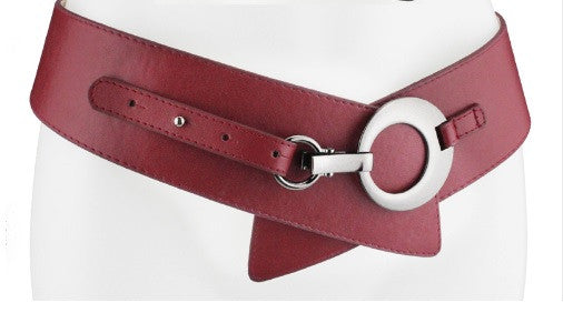 Feature Adjustable Leather belt - Red