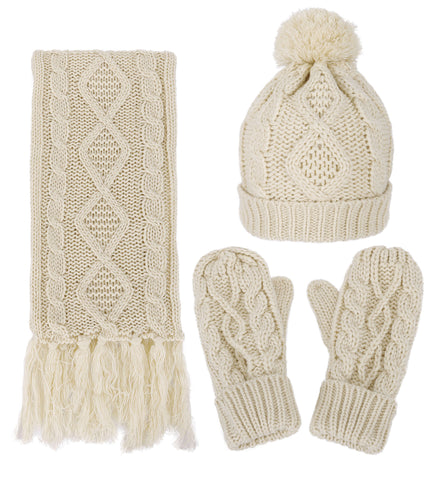 Andorra 3 in 1 Women's Thick Cable Knitted Beanie, Scarf, & Gloves Winter Set - Beige