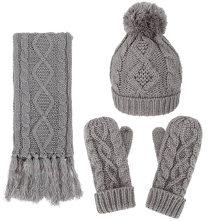 Andorra 3 in 1 Women's Thick Cable Knitted Beanie, Scarf, & Gloves Winter Set