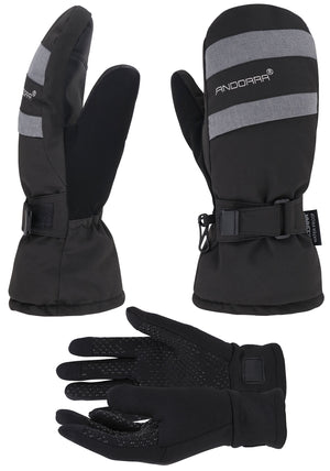 Andorra Women's Hyper Tech Touchscreen Mittens - Grey & Black