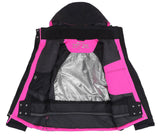 Andorra Women's Performance Insulated Ski Jacket with Zip-Off Hood - Black/Pink