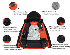 Andorra Men's Performance Insulated Ski Jacket with Zip-Off Hood - Black/Orange