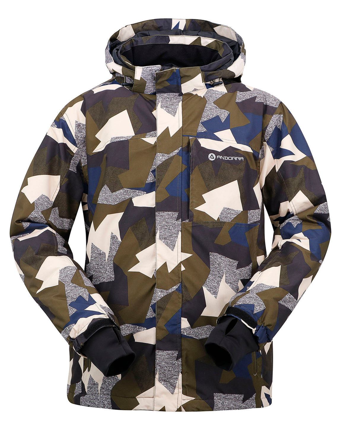 Andorra Men's Performance Insulated Ski Jacket with Zip-Off Hood - Army Grunge