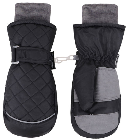 Andorra Kids' Classic Quilted Mittens - Black
