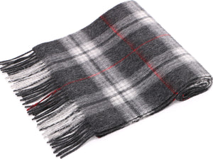 ANDORRA Men's Winter Cashmere Scarf - Grey/Red Plaid