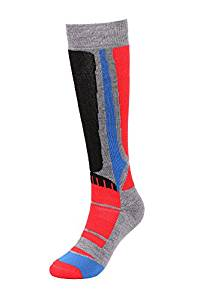 Andorra Air Cushioned Merino Wool Full Terry Ski Socks (Royal/Red/Black)