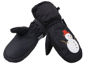 Andorra Kid's Cartoon Mittens - Black Snowman