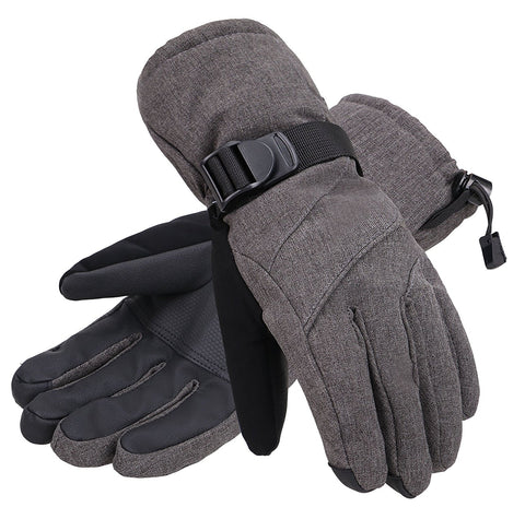 Andorra Men's Abstract Deluxe Touchscreen Sport Ski Gloves - Heather Grey