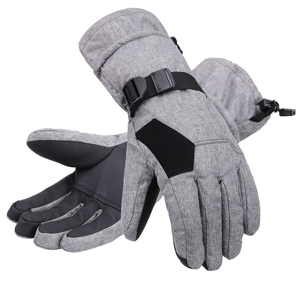 Andorra Men's Abstract Deluxe Touchscreen Sport Ski Gloves - Heather Grey 2