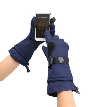 Andorra Men's Abstract Deluxe Touchscreen Sport Ski Gloves - Navy 2