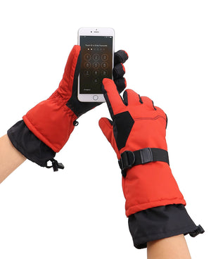 Andorra Men's Abstract Deluxe Touchscreen Sport Ski Gloves - Red