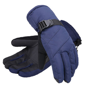 Andorra Men's Abstract Deluxe Touchscreen Sport Ski Gloves - Navy