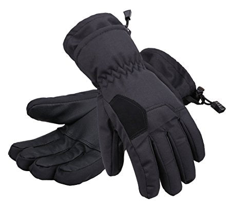 Andorra Kid's Two Tone Geometric Ski Gloves - Black