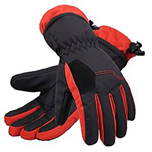 Andorra Kid's Two Tone Geometric Ski Gloves - Black w/ Orange Trim