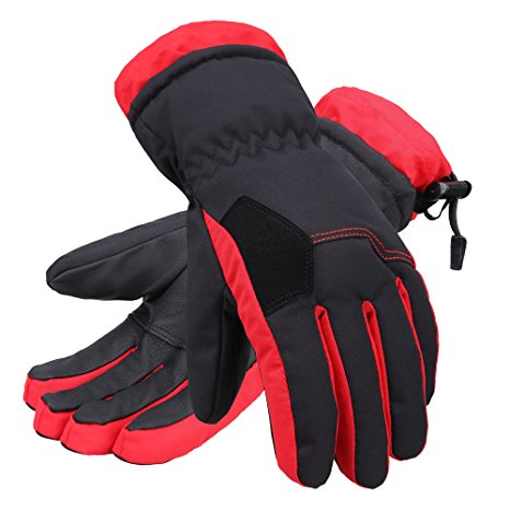 Andorra Kid's Two Tone Geometric Ski Gloves - Black w/ Red Trim
