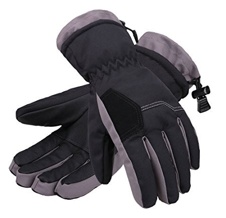 Andorra Kid's Two Tone Geometric Ski Gloves - Black w/ Grey Trim