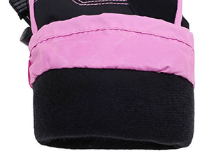 Andorra Kid's Two Tone Geometric Ski Gloves - Black w/ Pink Trim