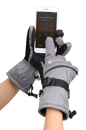 Andorra Men's Cross Country Touchscreen Glove w/ Zipper Pocket - Grey