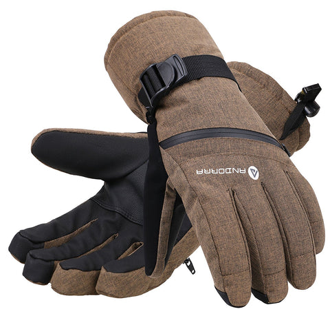 Andorra Men's Cross Country Touchscreen Glove w/ Zipper Pocket - Khaki