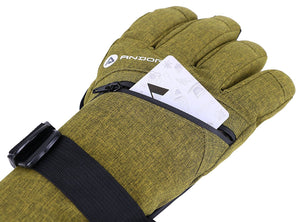 Andorra Men's Cross Country Touchscreen Glove w/ Zipper Pocket - Olive