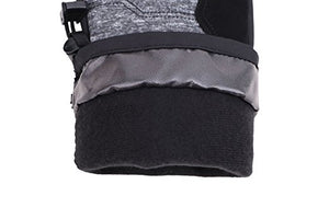 Andorra Kid's Two Tone Geometric Ski Gloves - Heather Grey w/ Black Trim