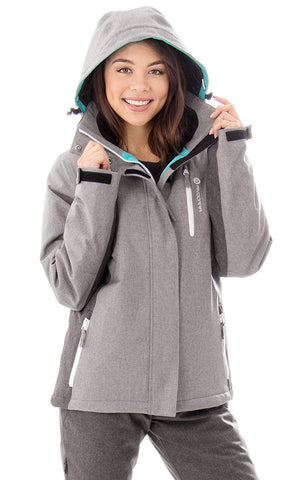 Andorra Women's Performance Insulated Ski Jacket with Zip-Off Hood - Grey/Teal