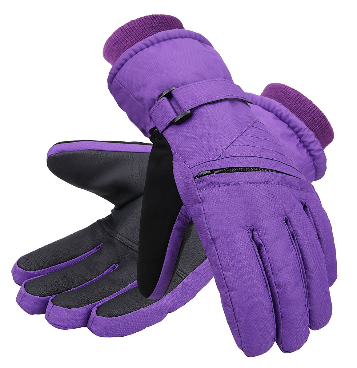 Andorra Kid?€?s Zippered Pocket Ski & Snowboarding Gloves - Purple