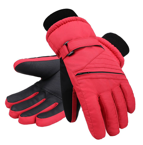 Andorra Kid?€?s Zippered Pocket Ski & Snowboarding Gloves - Red