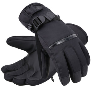 Andorra Men's Touchscreen Winter Sports Gloves w/ Zippered Pocket - Black