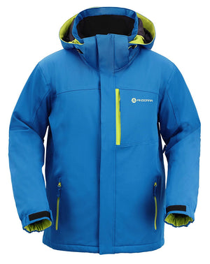 Andorra Men's Performance Insulated Ski Jacket with Zip-Off Hood - Blue/Green