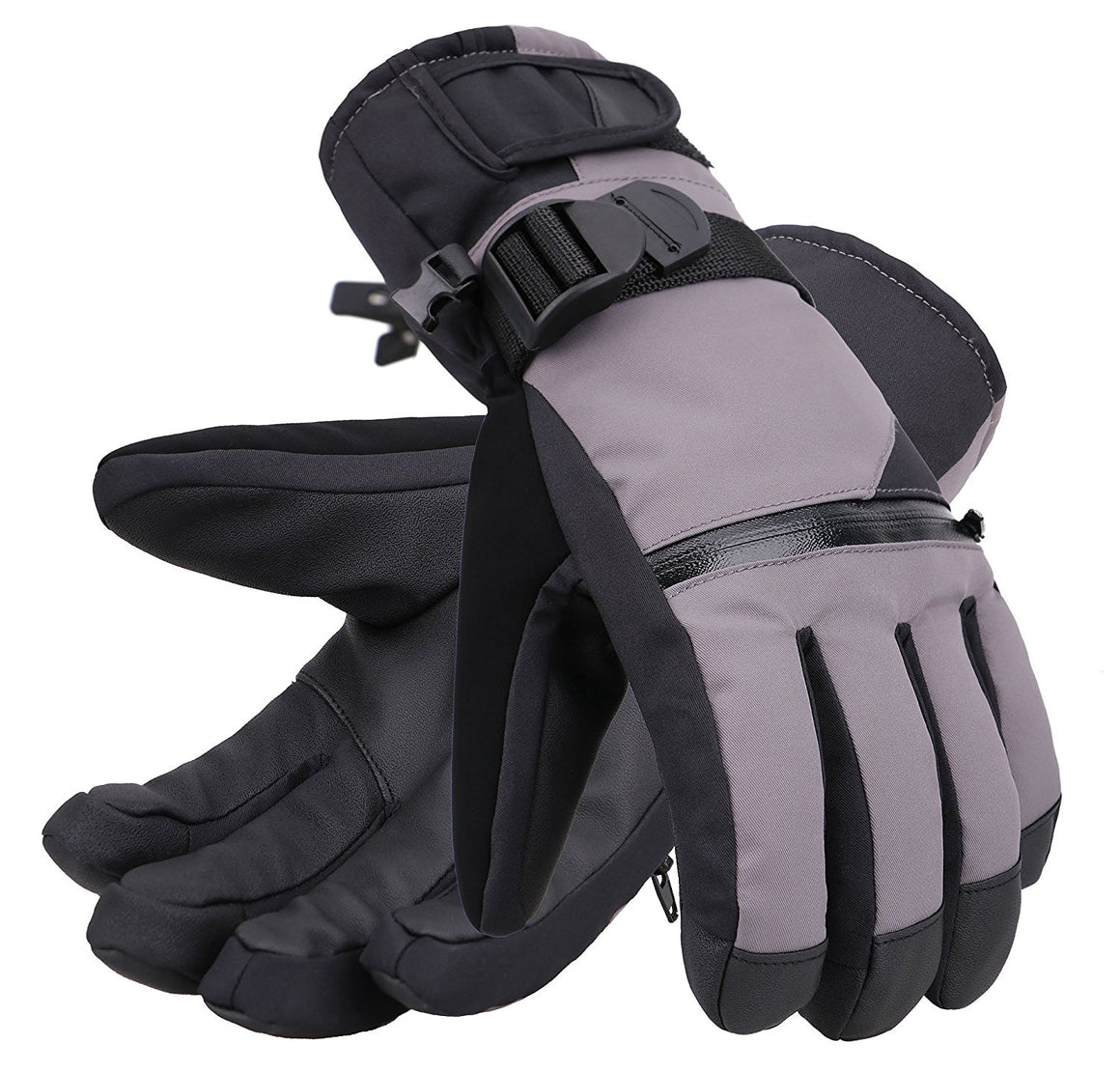 Andorra Men's Touchscreen Winter Sports Gloves w/ Zippered Pocket - Grey
