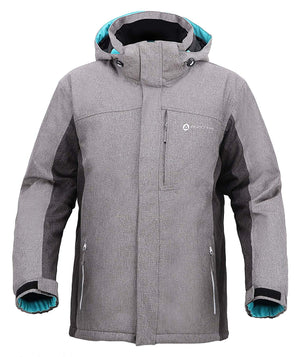 Andorra Men's Performance Insulated Ski Jacket with Zip-Off Hood - Grey/Teal
