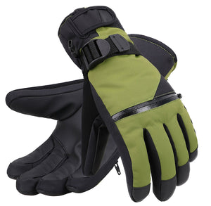 Andorra Men's Touchscreen Winter Sports Gloves w/ Zippered Pocket - Moss Green