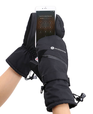 Andorra Women's Touchscreen Ski & Snowboarding Mitten w/ Pocket - Black