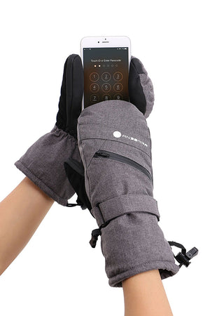 Andorra Women's Touchscreen Ski & Snowboarding Mitten w/ Pocket - Grey