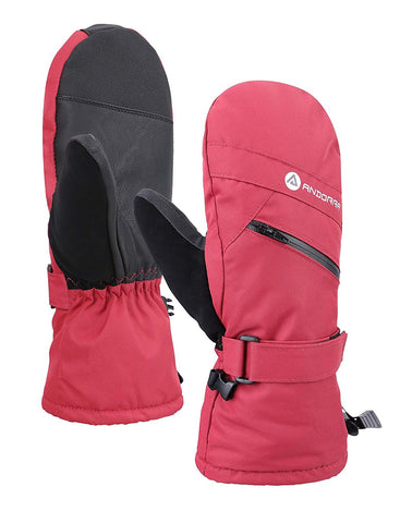 Andorra Women's Touchscreen Ski & Snowboarding Mitten w/ Pocket - Red