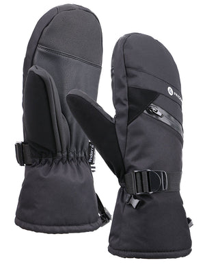 Andorra Men's Textured Touchscreen Ski Mittens w/ Zipper Pocket - Black