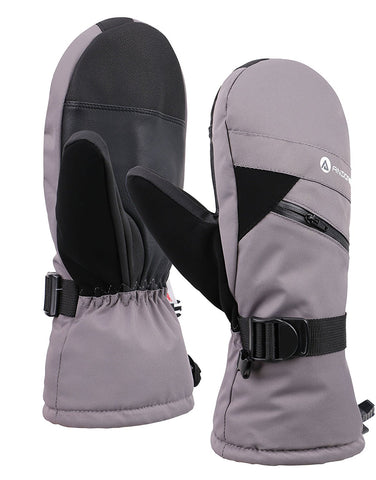 Andorra Men's Textured Touchscreen Ski Mittens w/ Zipper Pocket - Grey