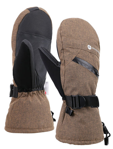 Andorra Men's Textured Touchscreen Ski Mittens w/ Zipper Pocket - Khaki