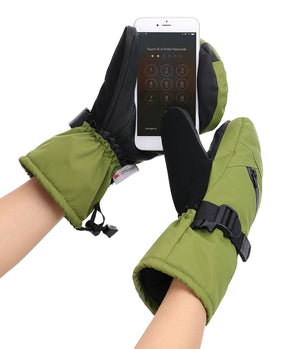 Andorra Men's Textured Touchscreen Ski Mittens w/ Zipper Pocket - Moss Green